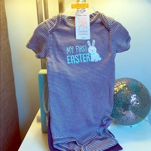 """""""My First Easter"""" onesie and pants set."""